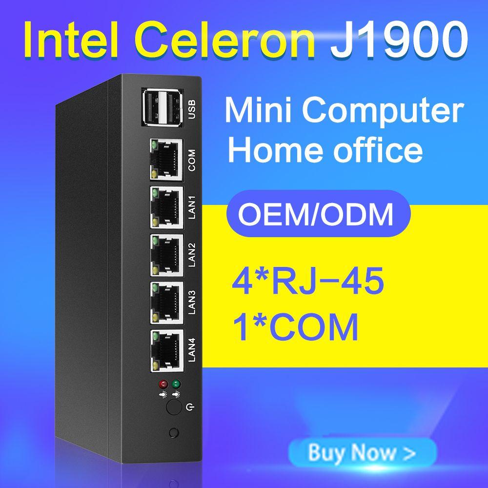 Fanless Mini PC J1900 Quad-core 4 LAN Routeur Pare-Feu Run Pfsense ROS Sophos Intel Gigabit Ethernet Passerelle VPN appareil