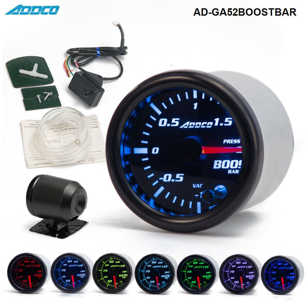 2 52mm 7 Color LED Smoke Face Car Auto Bar Turbo <font><b>Boost</b></font> Gauge Meter With Sensor and Holder AD-GA52BOOSTBAR