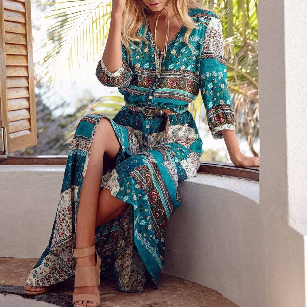 Women Long Maxi <font><b>Dresses</b></font> Bohemia V-neck Three Quarter Sleeve Floral Print Ethnic Summer Beach Female Split Stylish Style <font><b>Dress</b></font>
