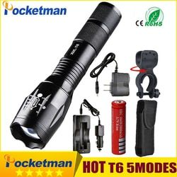 Pocketman 9000 lúmenes de alta potencia 5 modo XM-L T6 L2 LED linterna Zoomable recargable foco por 1*18650 O 3 * AAA z92