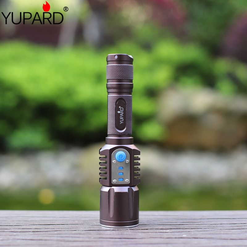 YUPARD XM-L2 Flashlight Torch USB charge 5modes mobile power 18650 battery Intelligent flashlight