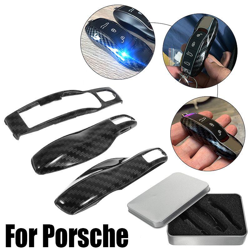 3 stücke Carbon Faser Farbe FOB Remote Key Fall Shell Abdeckung für Porsche Boxster Cayman 911 Panamera Cayenne Macan