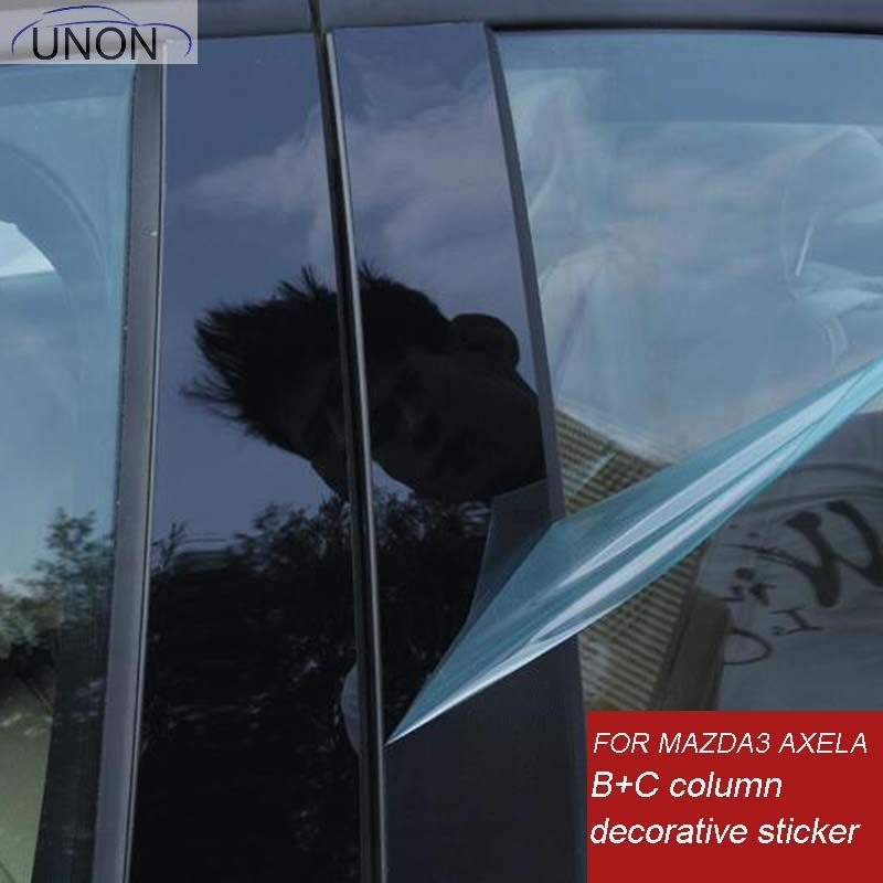 mirror reflection panel B+C column decorative sticker  for MAZDA 3 AXELA 2014 2016 2017 10PCS/SET