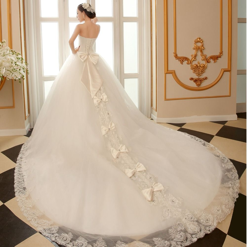 ball gown wedding dress with cathedral train with bling luxury 2016 new arrival  long tail turkey vestido de noiva real photo
