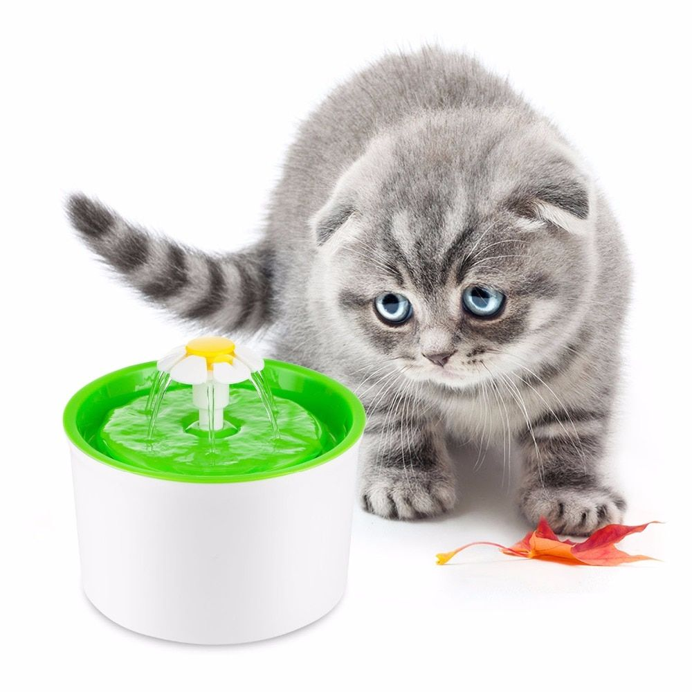Green 1.6L Flower Style New Automatic Cat Dog Kitten Water Drinking Fountain Pet Bowl Drink Dish Filter