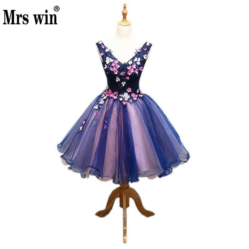 Robe de Soiree 2017 El v-cuello atractivo clásico flor Appliques noble mini bola dulce impresión floral Vestidos de quinceañera