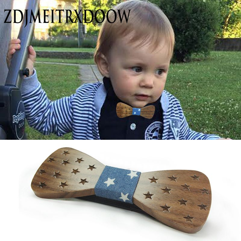 2017 marque enfants en bois nœuds papillon pour bébé garçon vêtements accessoires solide couleur Bowknot point impression enfants noeud papillon en bois