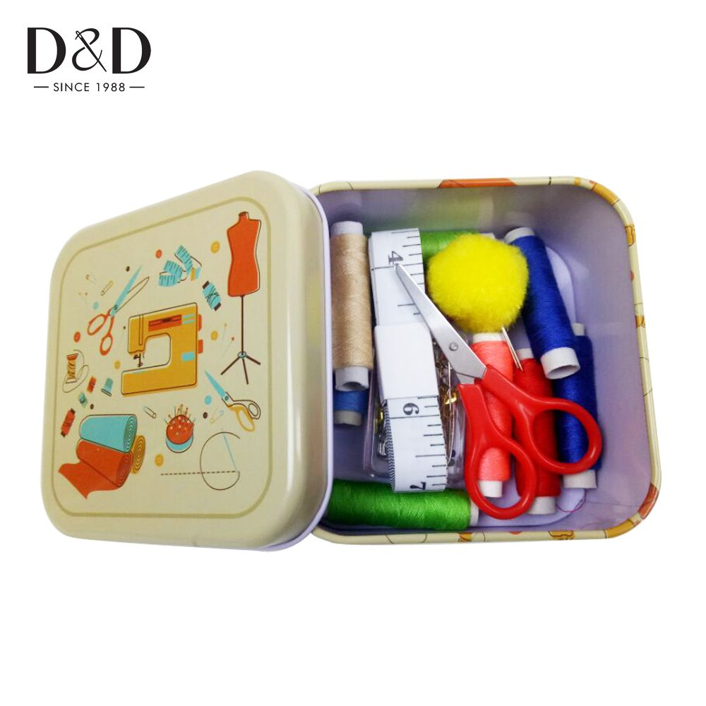 D&D Metal Sewing Box Sewing Kits For Home & Travelling With 78pcs Sewing Accessories 10.5*10.5*5.5cm