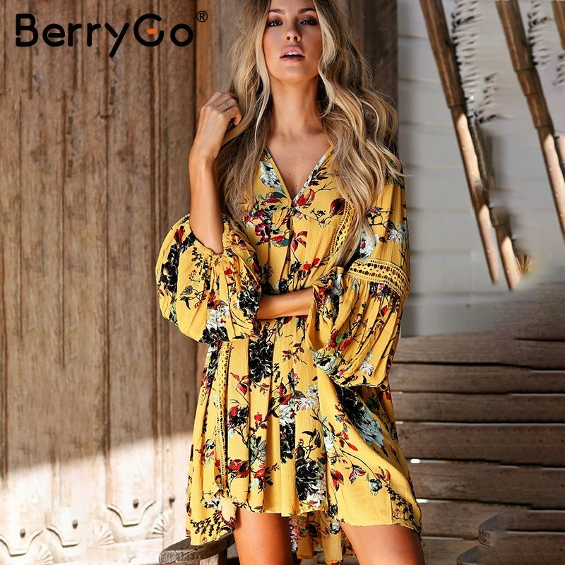 BerryGo Hollow out boho summer dress Women vintage loose lace lantern sleeve short dress Ruffle flower print sexy dress vestidos