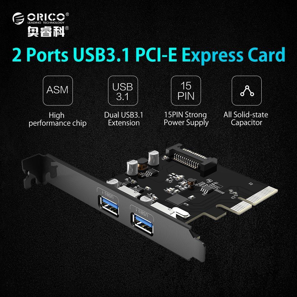 ORICO PA31-2P De Bureau 2 Ports USB3.1 Gen1 PCI Express Carte pour De Bureau-Noir