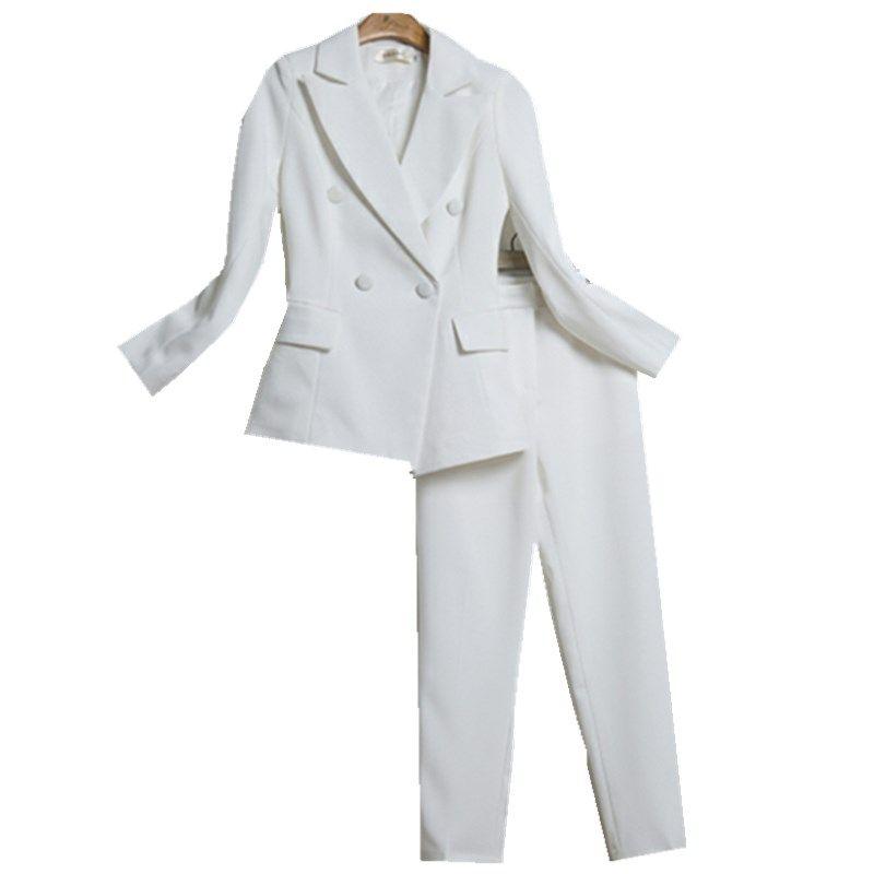 Fashion suit NEW women spring/autumn fashion Black / white temperament suit jacket nine pants two Pieces/1 sets