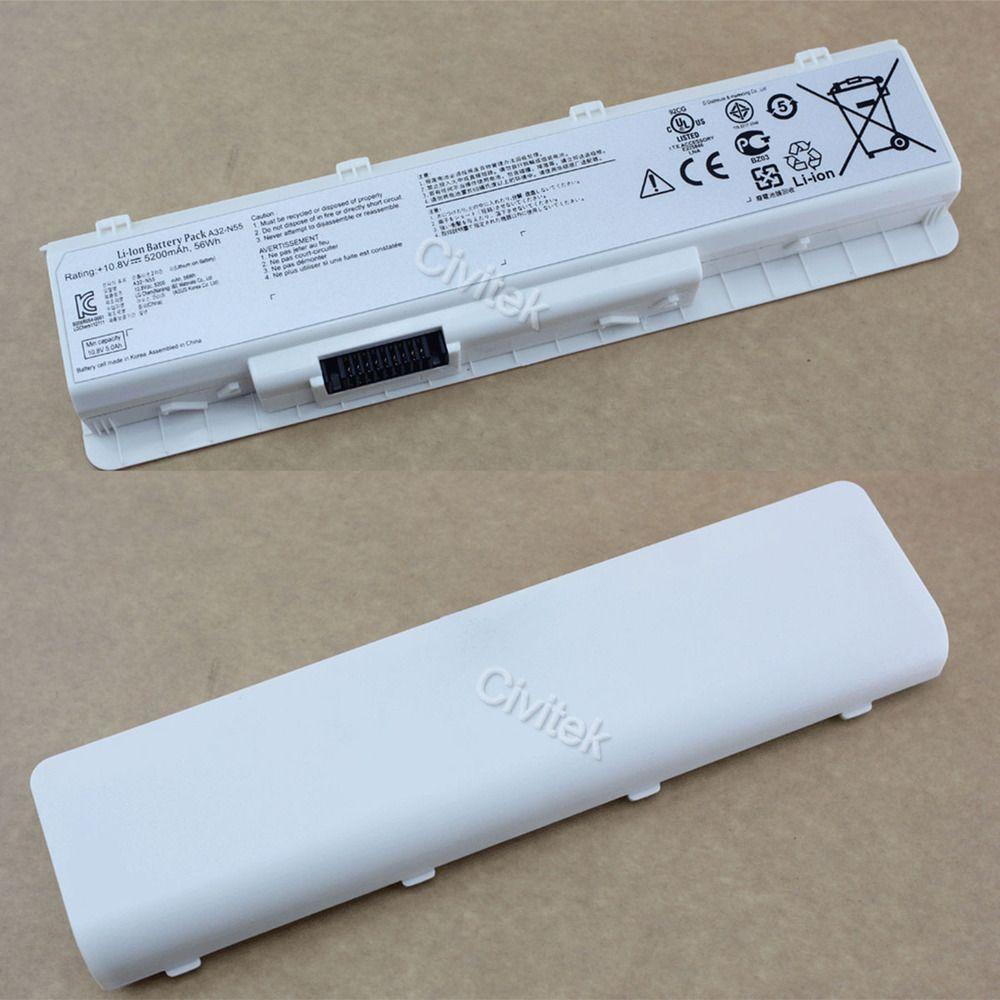 NOUVELLE batterie pour asus A32-N55 A32-N45 07G016HY1875 N45SJ N45SV N45F N45J N45SN N55E N55S N55F N75 N75S N75E blanc