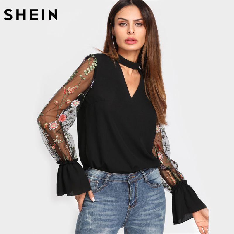 SHEIN V Neck Floral Blouse Women Tops Embroidered Mesh Sleeve Choker Neck Blouse Black Long Sleeve Elegant Blouse