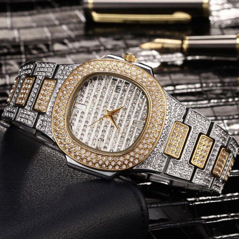 Mode diamant hommes montres automatique Date Quartz montre or en acier inoxydable affaires hommes montres Top marque de luxe Hip Hop nouveau