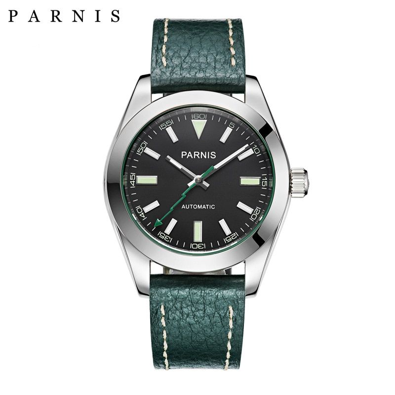 40mm Parnis Watch Mechanical Sapphire Crystal Casual Leather Miyota 8215 Men's Automatic Watch New Arrival 2018 PA2107