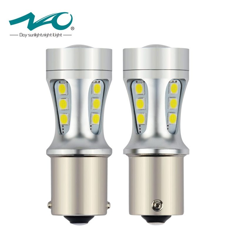NAO 2x p21w led car 1156 LED BA15S P21W S25 18 led 3030 Chips 6000K White Red Yellow Brake Lights Reverse Lamp DRL Car Tail Bulb