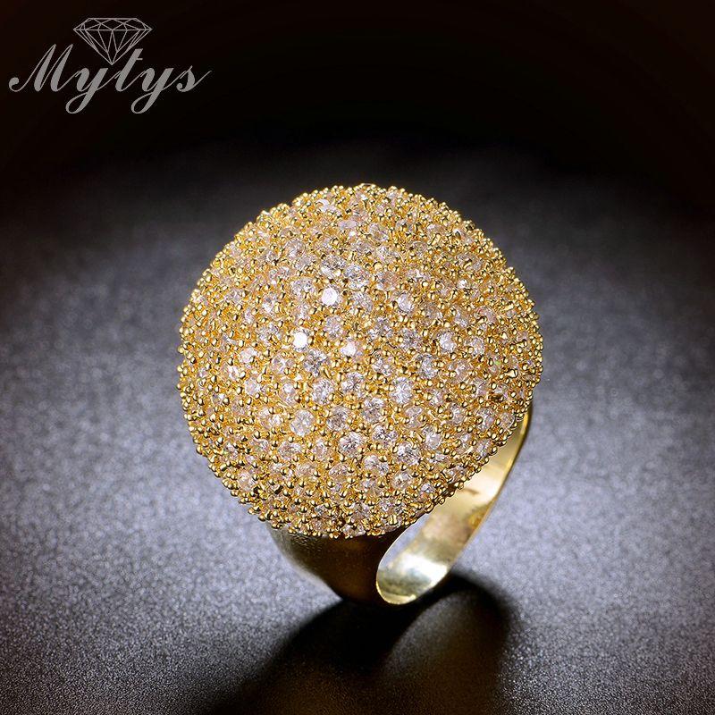 Mytys Pave réglage cristal de luxe Chunky anneau forme de boule mode magnifique haute qualité bijoux nouveaux grands anneaux R1048 R1049