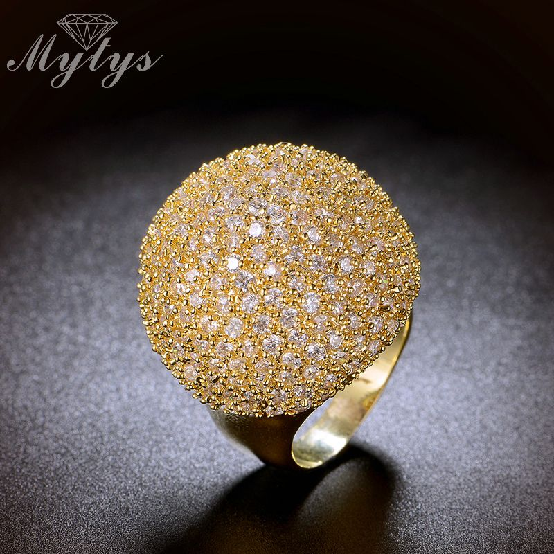 Mytys pavé réglage cristal de luxe grosse bague forme de boule de mode magnifique haute qualité bijoux nouveaux grands anneaux R1048 R1049