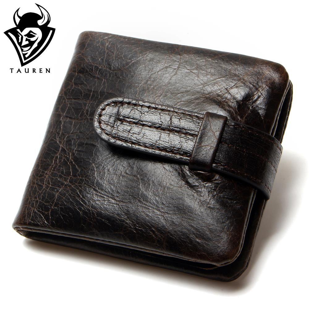 Luxury Vintage Casual 100% Real Genuine Cowhide Oil Wax Leather Men Short Bifold Wallet Wallets Purse Coin Pocket Male Zipper