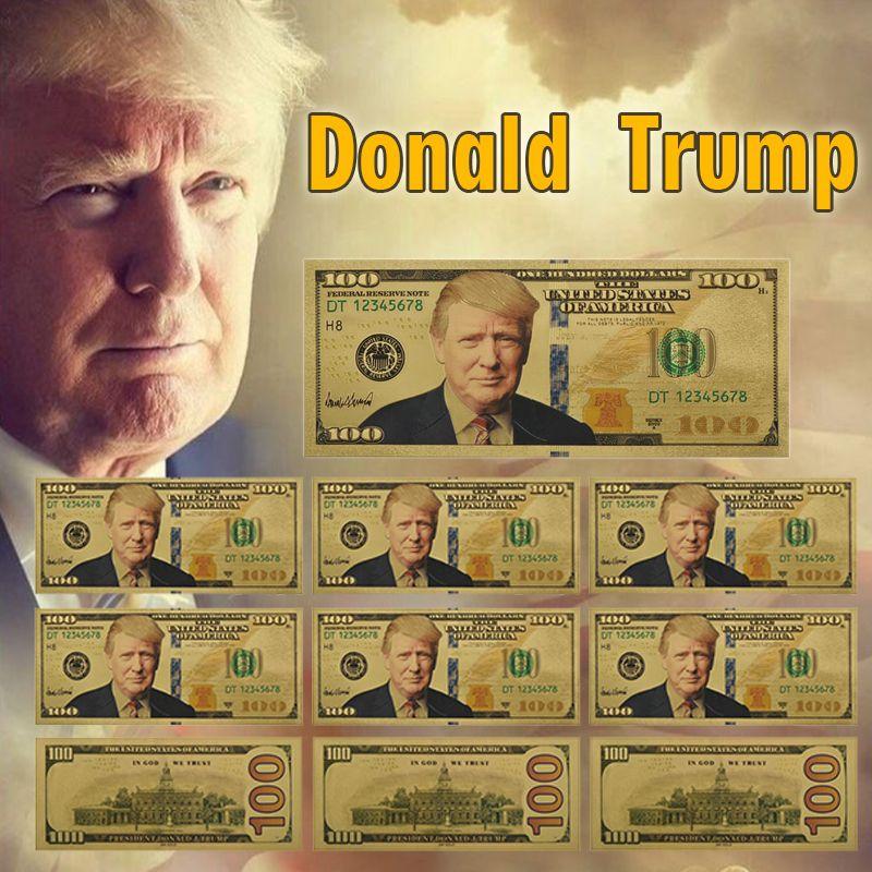 Trump plaqué or faux argent 10 pièces Unique amérique un Million de dollars billet de banque papier argent cadeaux d'affaires pour noël