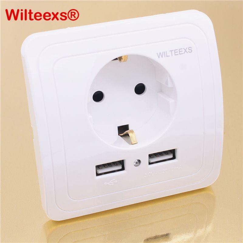 WILTEEXS Double USB Port 5 V 2A Électrique Mur Chargeur Adaptateur UE Plug Socket Commutateur Power Dock Station De Charge Sortie Panneau BLANC