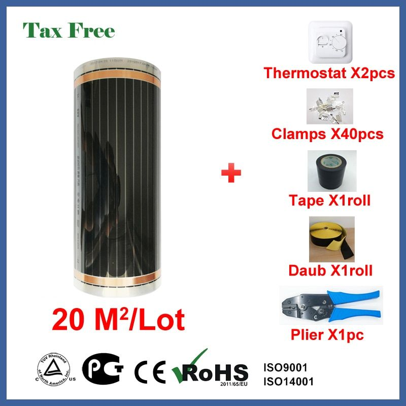 Tax Free Under floor heating film 20 square meters, 220W/Square infrared room heater with wholesale price