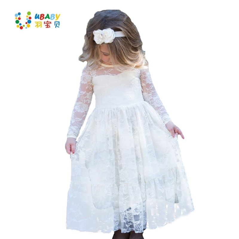 Girl Lace Long Dress Flower For Age 2-12 Baby <font><b>Kids</b></font> Princess Formal Wedding Prom Party Dress White/Cream Big Bow Sweet Clothing