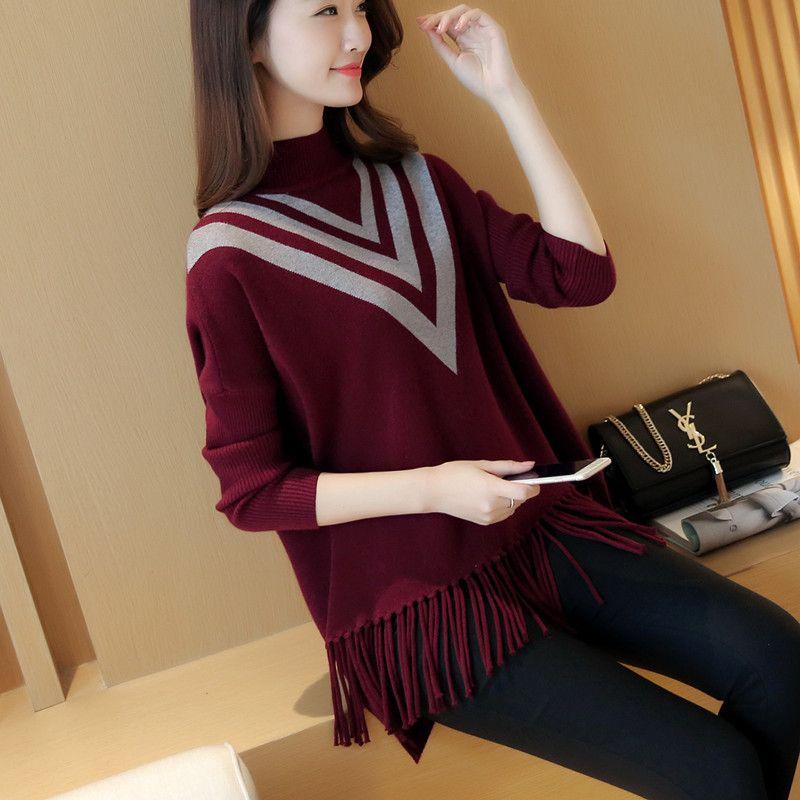 Autumn new ladies loose Korean version of the cape bat sleeve sweater sets of tassel base sweater YF29