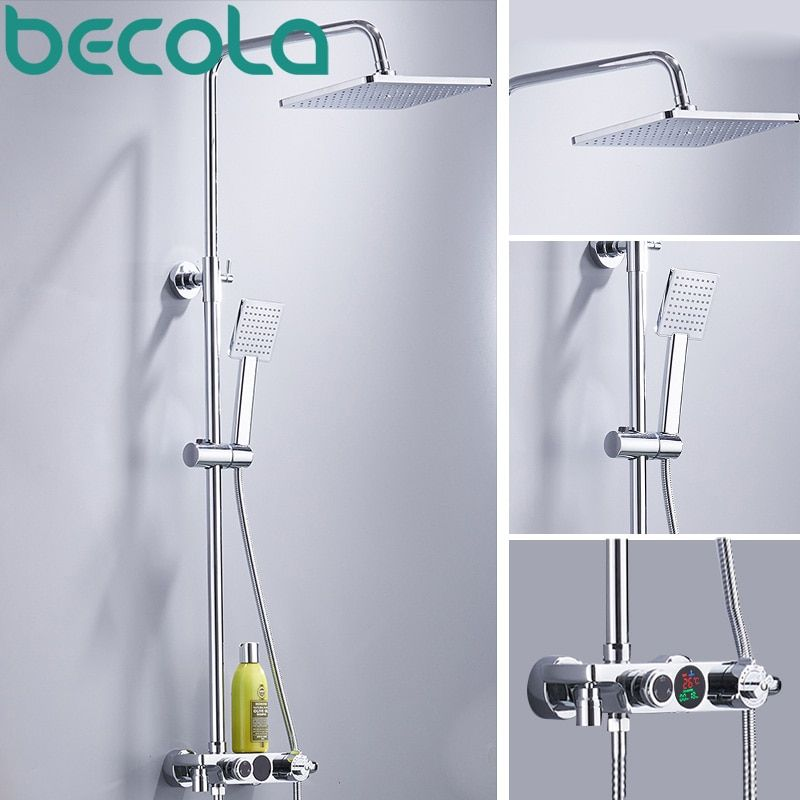 becola thermostatic shower faucet LCD temperature digital display shower system rainfall shower set wall mounted B-HW018