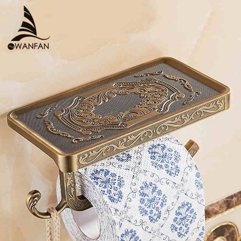 Étagères de salle de bain Antique sculpture papier toilette rouleau support avec étagère de téléphone mur monté salle de bains porte-papier crochet utile WF1018