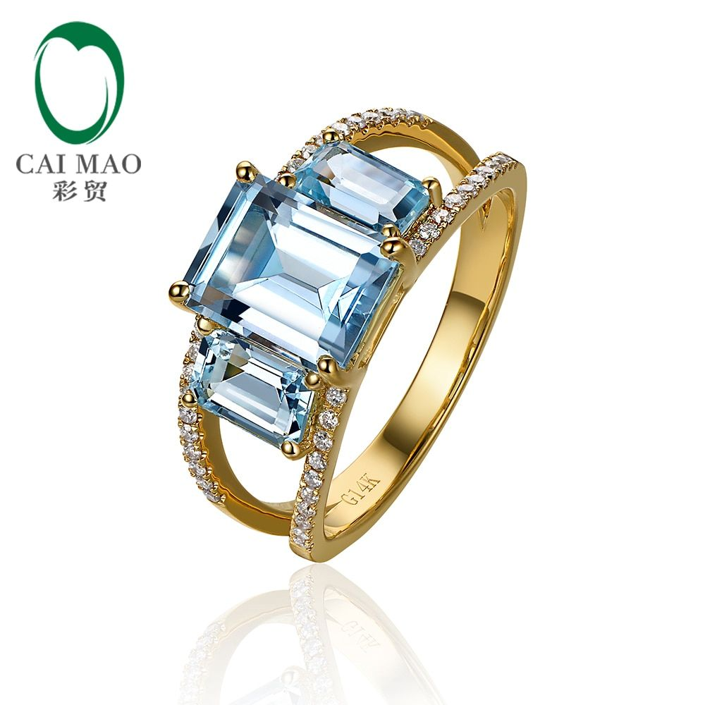Caimao Jewelry 14kt Yellow Gold 4.38ct Blue Topaz & 0.20ct Natural Diamond Engagement Ring