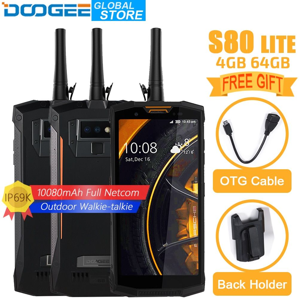 DOOGEE S80 Lite Mobile Phone IP68/IP69K Walkie talkie Wireless Charge NFC 10080mAh 12V2A 5.99 FHD Helio P23 Octa Core 4GB 64GB