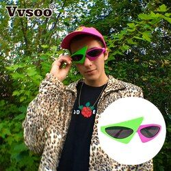 Baru Hijau Pink Warna Kontras Kacamata Roy Purdy Gaya Hip-Hop Asimetris Segitiga Kacamata Perlengkapan Pesta Dekorasi