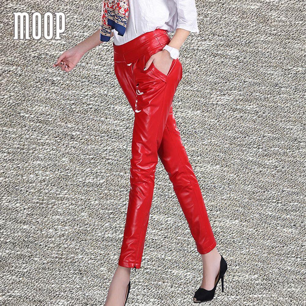 Black red genuine leather pants sheepskin pleated pencil pants trousers pantalon femme pantalones mujer free shipping LT1252