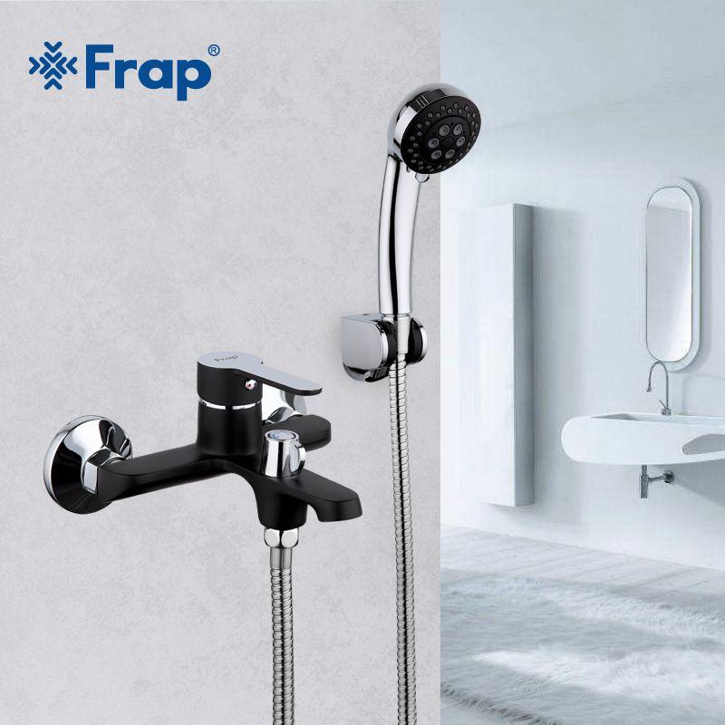 Frap Black Bathroom Shower Brass Chrome Wall Mounted Shower Faucet Shower Head sets black F3242
