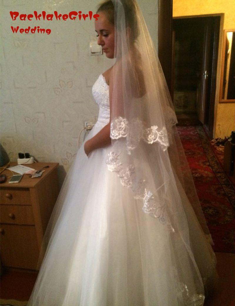 New Wholesale Wedding Veils 2.6m length ivory white in stock velos de novia Long bridal veil lace appliqued veil voile 2016