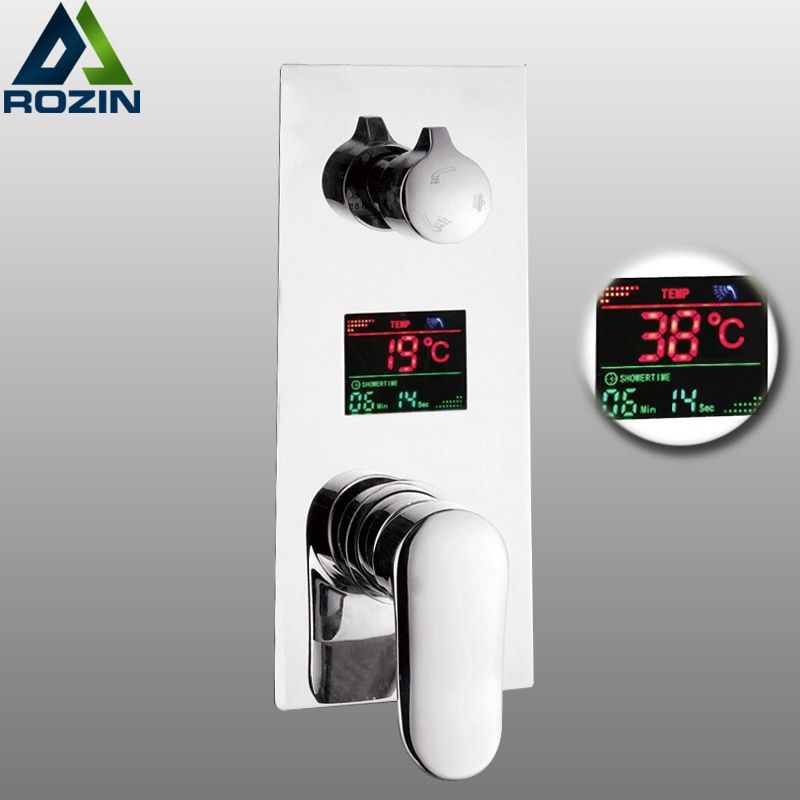 Wall Mounted Brass Shower Control Mixer Valve Digital Temperature Display 2-3 Ways Pre-box Intelligent Bath Shower Mixers