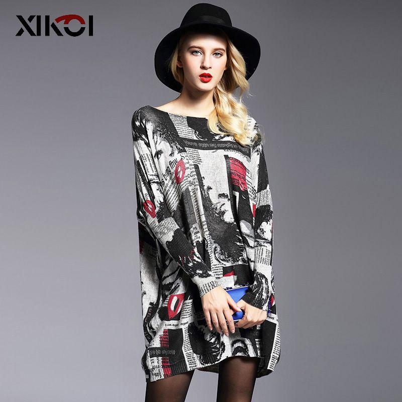 XIKOI 2019 femmes surdimensionné robe Pull automne pulls manches chauve-souris Patchwork imprimé Slash cou Pull Femme tricoté chandails