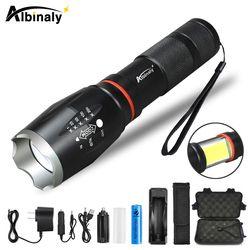 Albinaly Многофункциональный светодиодный фонарик 8000 Люмен T6 L2 фонарь скрытый COB дизайн фонарик хвост супер магнит дизайн кемпинг лампа