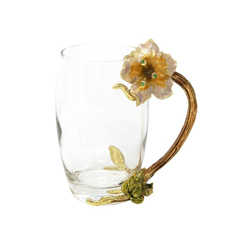 KEYTREND Créatif Tasse En Verre avec Fleur Couleur Émail Alliage Poignée, Grandes et Petites Tasses et Tasses AECL088