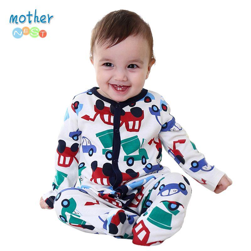 Mother nest 2016 nuevo mameluco del bebé del mono ropa de invierno lindo coche impreso ropa para niños otoño 100% algodón bebé ropa