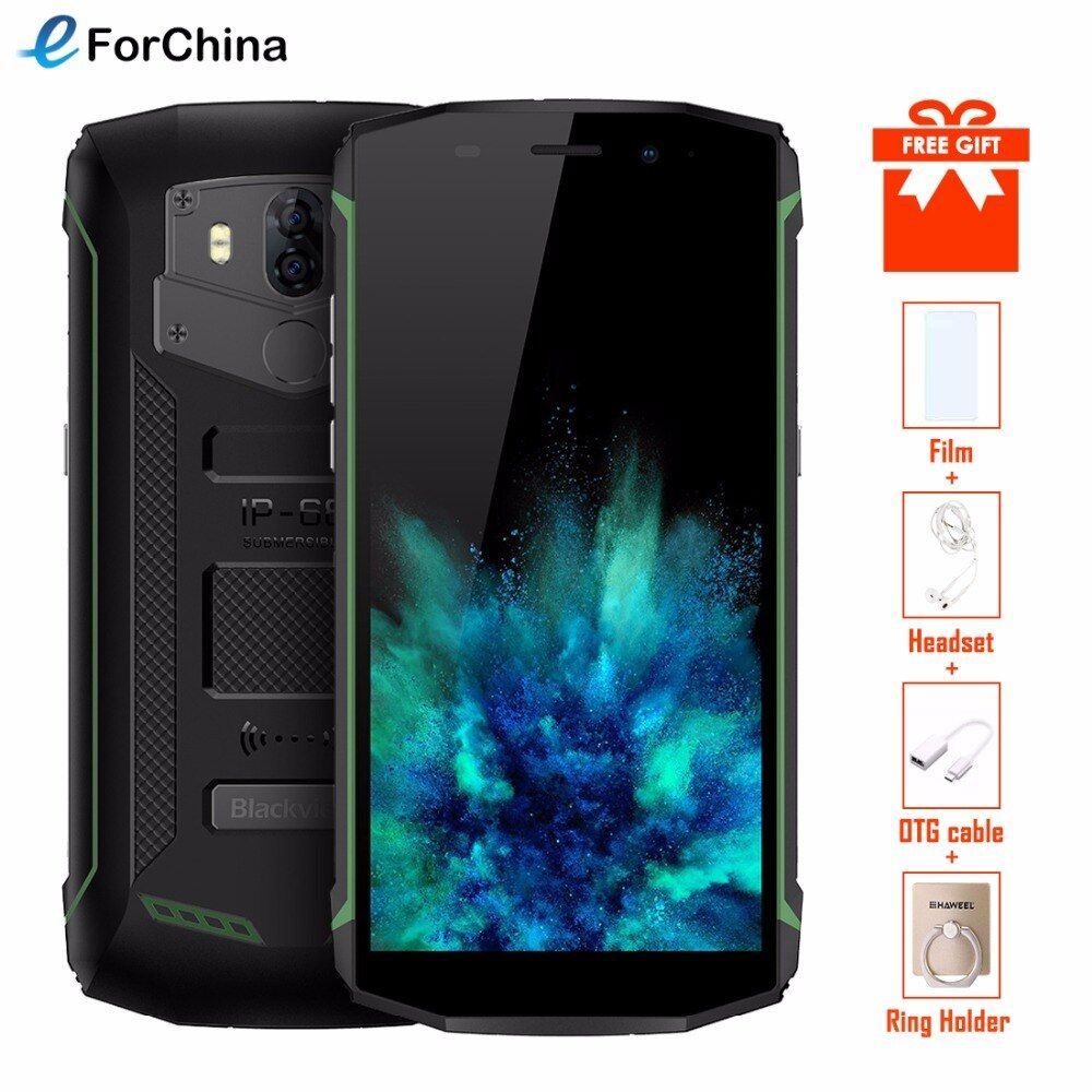 Blackview BV5800 Smartphone IP68 Waterproof 5.5inch 18:9 HD+ Android 8.1 Mobile Phone Dual Rear Camera 13.0MP NFC GPS Cell Phone