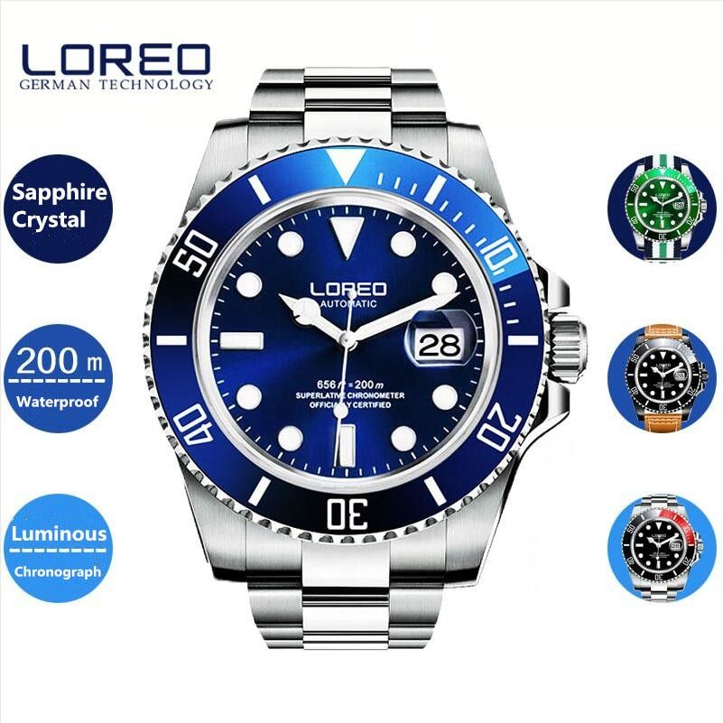 LOREO 40mm Sapphire Glass Automatic 20ATM Mens Diving Watch Relogio Masculino Esportivo Alibaba Birthday Gift With Box A27