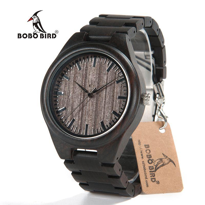 BOBO BIRD 2017 Luxury Brand Men Watches All Black Wooden Wristwatches with Wooden Band Wood Watches for Men relogio masculino