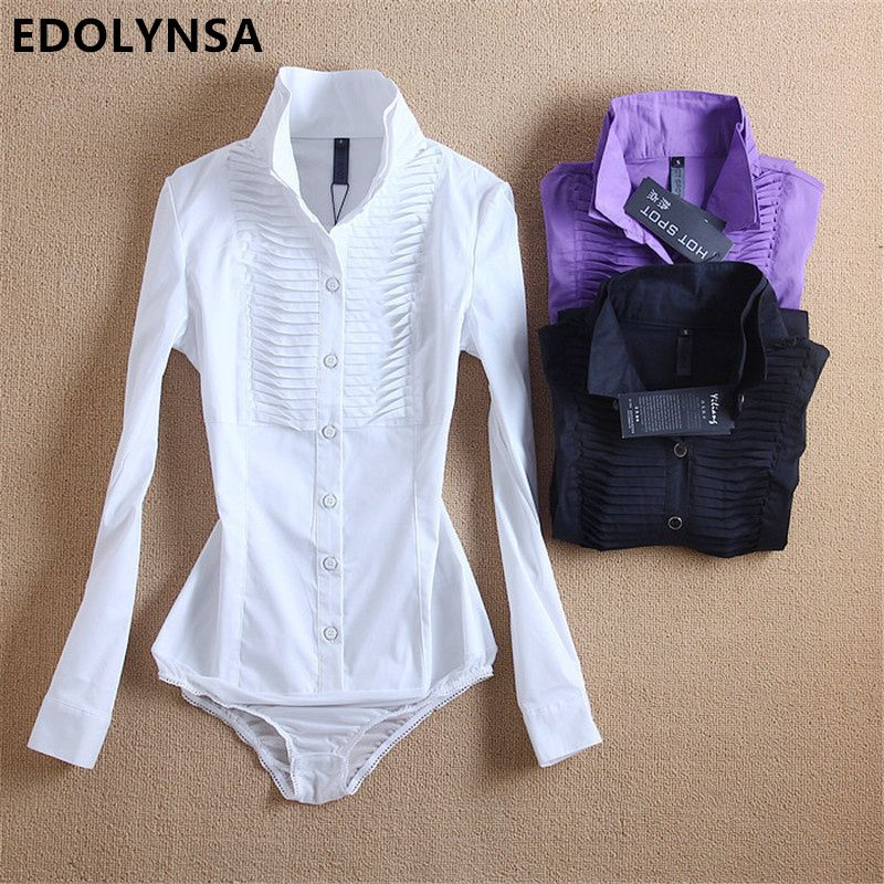 Neuheiten Frauen Körper Bluse Shirt Weiß Langarm Blusas Elegante Tops Weibliche Tunika Blusen Feminina Solide Blusa # B7