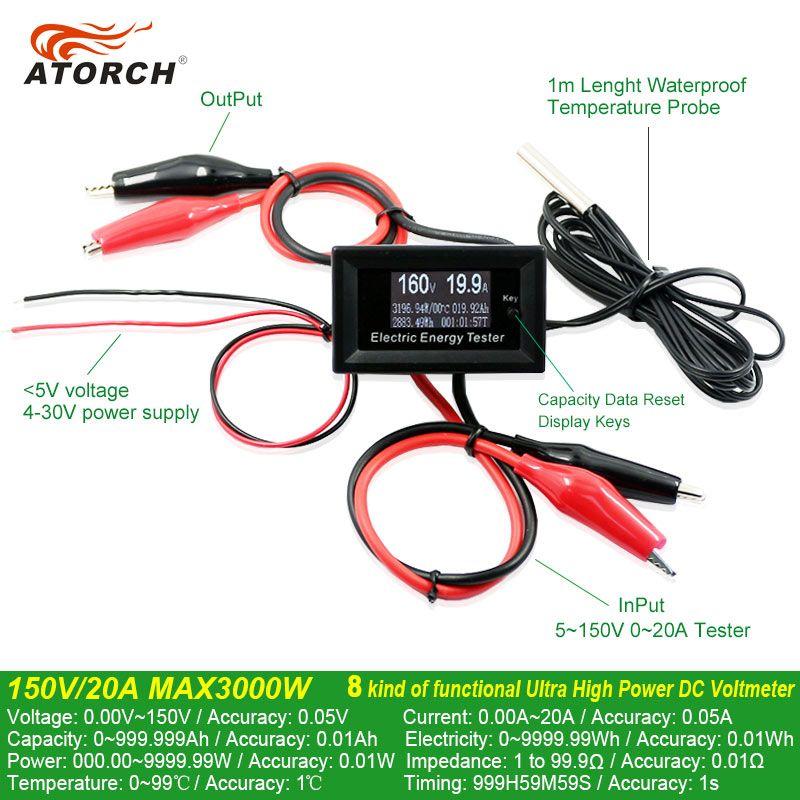 ATORCH DC 150 V 20A Courant Mètres numérique voltmètre ampèremètre tension amperímetro watt metercapacity testeur indicateur lcd moniteur