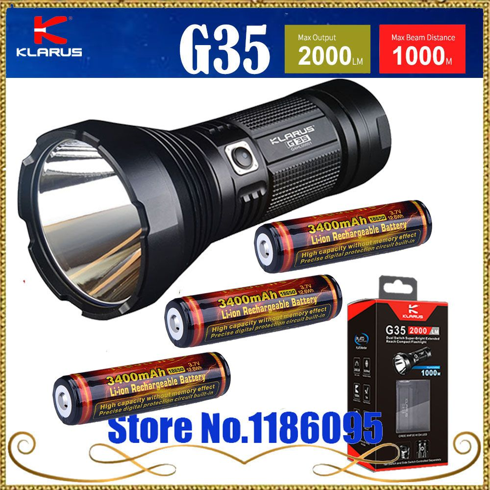 KLARUS G35 flashlight CREE XHP35 HI D4 LED 2000LM Max beam distance 1000M have gift for 3pcs 18650 3400mah battery