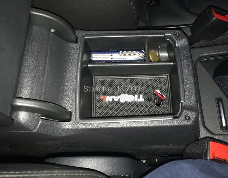 For 2016 2017 2018 VW Tiguan mk2  Armrest Center Storage Box Container Glove Organizer Case door lock cover