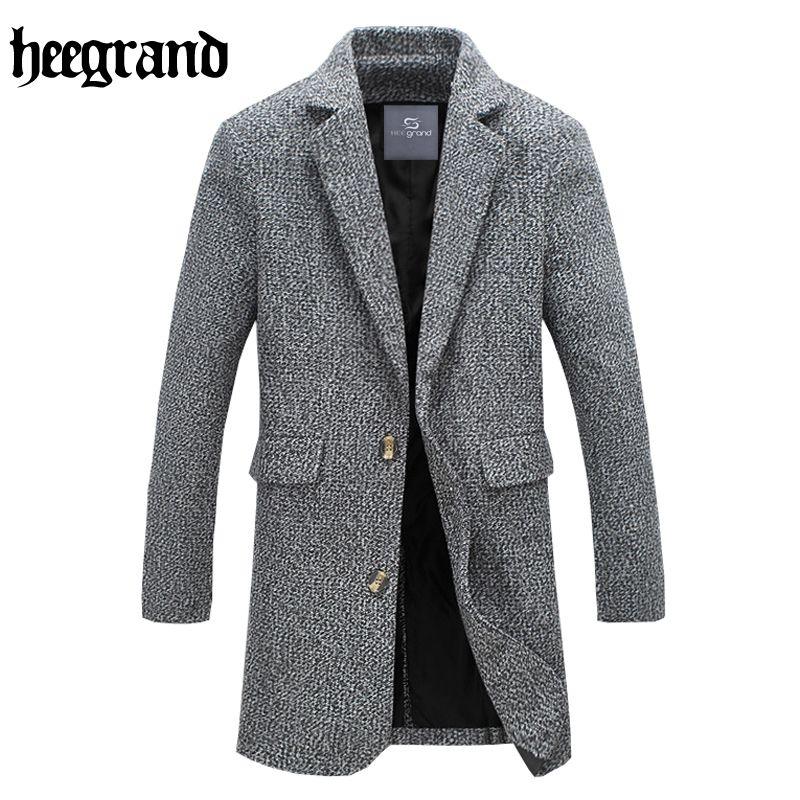 HEE GRAND 2017 Neue Stil Männer Langarm Einfarbig Hälfte Taille Casual Mantel Männlichen Wollmischung M ~ 5XL MWN222