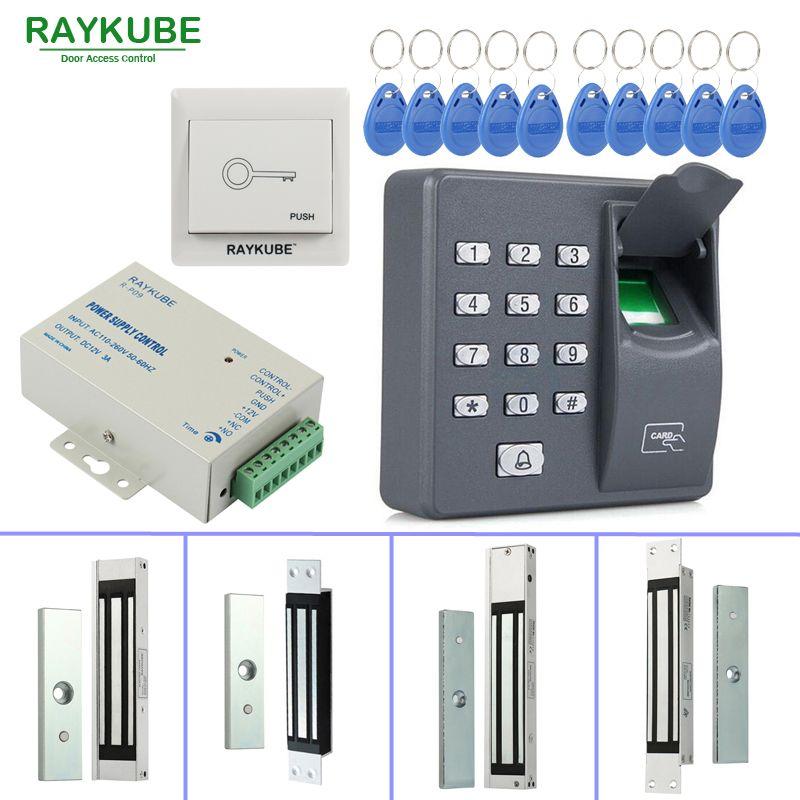 RAYKUBE Porte Système de Contrôle D'accès Kit 180 kg/280 kg Électrique Serrure Magnétique + Biométrique D'empreintes Digitales Lecteur RFID Mot de Passe clavier